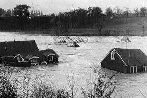 Flooding of the Don River after Hurricane Hazel.