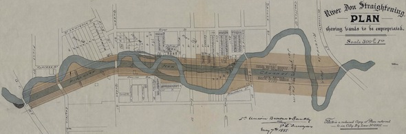 River Don Straightening Plan, showing lands to be expropriated, 1888