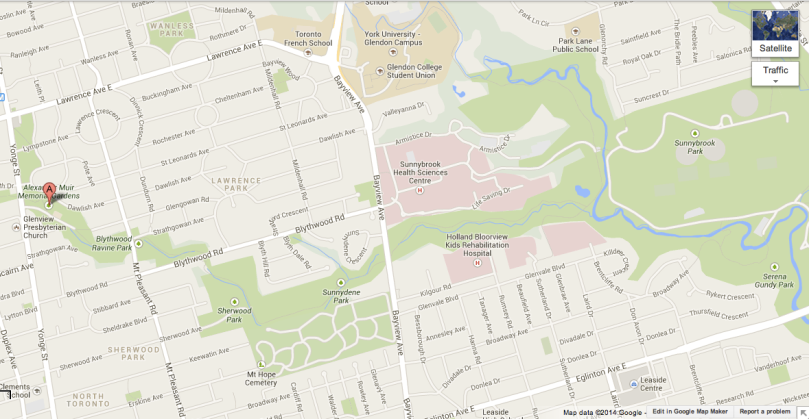 This map shows how you can get to Sunnybrook Park from Alexander Muir Memorial Gardens